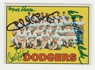 Don Drysdale Regan Skowron Carl Erskine 1967 Topps Dodgers Team Signed AUTOGRAPH