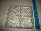 Vintage Indiana Depression Glass Divided Square Relish Dish Tray Pretzel Pattern