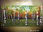 Landscape Painting.Palette Knife.Impasto.Birch Forest 48' by Nata S.MADE-2-ORDER