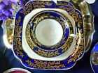 ANTIQUE SPODE TEA CUP AND SAUCER &plate  BELL SHAPE COBALT BAND GOLD VINES c1820