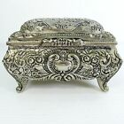 SOLID METAL BEAUTIFULLY DECORATED WITH FLOWERS & LEAVES HINGED LID TRINKET BOX