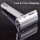 Traditional Men Double Edge Chrome Safety Razor Classic Shaving With 100 Blades