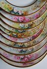 LIMOGES FRANCE  set of 11 HANDPAINTED ARTIST SIGNED PLATES ROSES DOUBLE GOLD