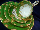 BISHOP & STONIER BISTO c1891 TEA CUP AND SAUCER TRIO & PLATE GREEN PROFUSE GOLD