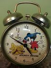 Vintage Bradley Mickey Mouse & Pluto Dual Bell Wind Up Alarm Clock (RARE)
