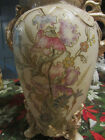 Gorgeous Early Royal Bonn Franz Mehlem HP Footed Cream Vase Gilt Floral  1875