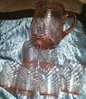 PINK SWIRL GLASS PITCHER WITH 6 JUICE GLASSES DEPRESSION GLASS?