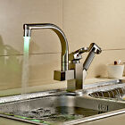 LED Pull Out Spray Kitchen Sink Faucet Brushed Nickel One Hole Basin Mixer Tap