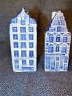 White Hand painted canal house salt and pepper shakers