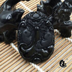 A-38 Chinese Hand-Carved Dragon Fish 100% Natural Grade A Obsidian Jade Pendant