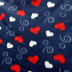 Red  White Hearts On Navy Fleece Fabric BY THE YARD