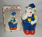 VINTAGE CUTIE PIGGY COOKIE JAR HAND CRAFTED & HAND PAINTED