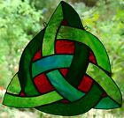 LG CELTIC TRINITY KNOT SUNCATCHER EMERALD GREEN & RUBY RED SILVER STAINED GLASS
