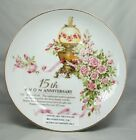 The Avon Rose Plate 15th Anniversary Representative White Porcelain 22k Gold