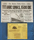1912 Titanic Boston Daily Globe Newspaper + 3rd Class Ticket  RP Father's Day