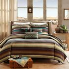 BEAUTIFUL MODERN GREEN RED TEAL BLUE BROWN BOHEMIAN CHEVRON STRIPE QUILT SET NEW