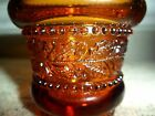 VINTAGE AMBER HOLLY AND BERRIES GLASS 2 3/8
