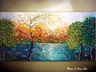 Abstract Forest Lake Painting.Palette Knife.Impasto  48' by Nata S. MADE-2-ORDER