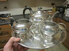 Old Antique English Silver Plate on Copper 3 pce Teapot Set & Tray Teekanne 1920