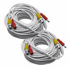 2 x 100 ft Dual CCTV Surveillance Security White Video Power Cable Camera System