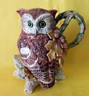 RARE Fitz & Floyd Autumn Woods Owl Oak Tree Leaf Acorn Ceramic Pitcher 9