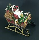 Fitz & Floyd Musical Christmas Lodge Sleigh Here Comes Santa Clause NEW