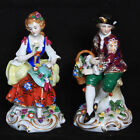 ANTIQUE Sitzendorf c. 1902-1954 Man Woman Couple Pair Flowers Porcelain Figurine