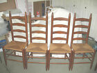 Four OAK LADDER BACK RUSH SEAT CHAIRS Mid-Century  42