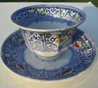 ANTIQUE 1850's HANDLESS BLUE WHITE STAFFORDSHIRE IRONSTONE TEA CUP SAUCER ZAMARA
