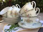 Vintage Grace china pattern FLORA Cup & Saucer Set Of 6 Floral Tea Coffee Gold