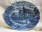 THE POST HOUSE PLATTER  BLUE & WHITE MADE ENGLAND IRONSTONE BURSLEY