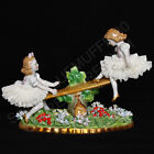 VTG Sitzendorf Germany Porcelain Dresden Lace Figurine Ballerina Girls On Seesaw