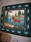 Spring Industries Moose Canoe Wilderness Fabric Print Panel Wall Hanging