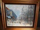 Original Oil Painting On Canvas, Framed, Matted, Cityscape, Paris, The Pantheon