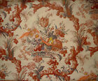 VINTAGE RETRO MID CENTURY SCREEN PRINTED FRUIT, FLOWERS & PHEASANT FABRIC 115X56
