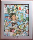 1970 Topps Baseball Original Folk Art 8X11 Framed Wall Hanging Yankees Sox Mets