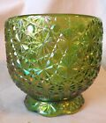 Green Pressed Carnival Iridescent Glass Buttons and Daisy Compote Bowl Dish