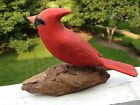Vintage Artist Signed Folk Art Carved Wood Cardinal Bird Statue Figurine