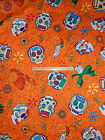 Day of the Dead Fabric Orange w/Skulls and  Marigolds LARGE PRINT By the Yard