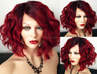 PRE-ORDER | Human Hair BLEND Wavy Wine Red SWISS LACE Front & PART Short Bob Wig