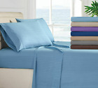 1800 Series Hotel Edition Egyptian Bed Sheet Set Striped 4 Piece 11 Colors