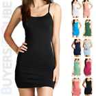 Women's Camisole Long Tank Top Spaghetti Strap Basic Stretch Slip Mini Dress
