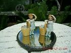Vintage Pair Of 2 Little Girls Figurine*Shabby Cottage Charm*Old Farmhouse Style
