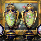 20'' Museum quality pair Limoges France cobalt blue hand-painted urns/vases gold