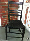 Antique Folk Art Primitive Rustic Handmade Leather Strap Seat Wood Chair 1800s