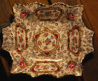 POMPADOUR James Kent OLD FOLEY SQUARE DISH W HANDLES Staffordshire England GOLD