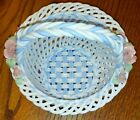 INTRICATE & UNUSUAL CAPODIMONTE BLUE WHITE PINK ROSES PORCELAIN WICKER BASKET