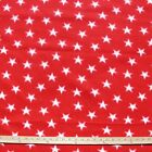 White Stars On Red Polar Fleece Fabric BY THE YARD