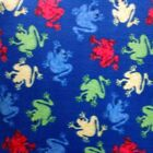 Colorful Frogs On Royal Blue Polar Fleece Fabric SOLD BY THE YARD