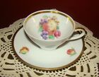 1~SWH5 by Schwarzenhammer cup and saucer Germany Fruit Motif Gold Trim